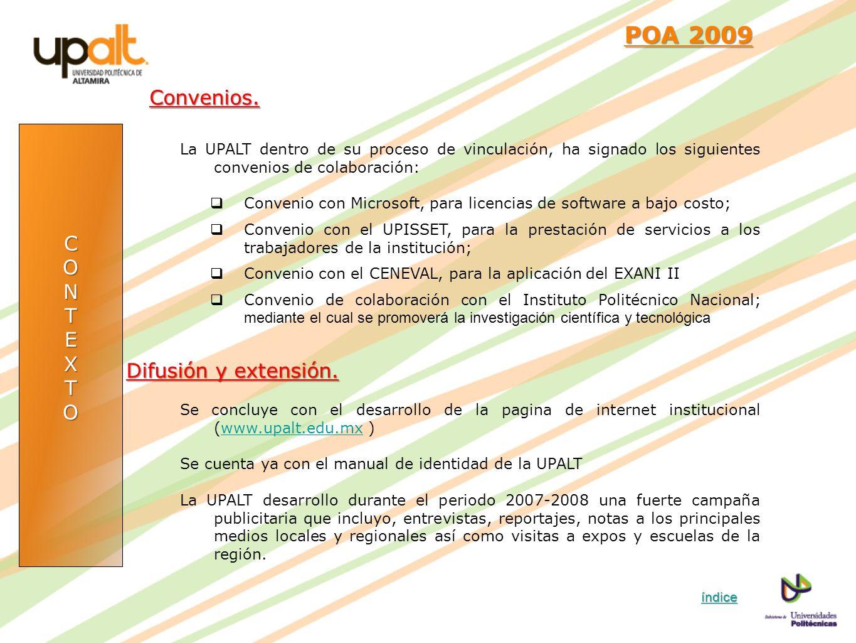 POA 2009 Convenios. C O N T E X Difusión y extensión.