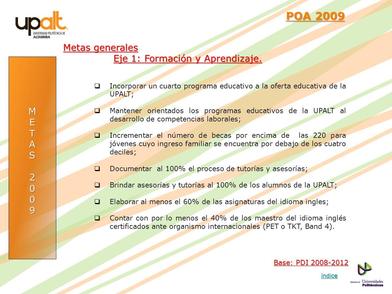 POA 2009 Metas generales Eje 1: Formación y Aprendizaje. M E T A S 2 9