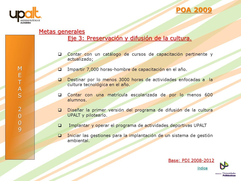POA 2009 Metas generales Eje 3: Preservación y difusión de la cultura.