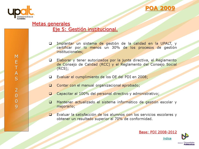POA 2009 Metas generales Eje 5: Gestión institucional. M E T A S 2 9