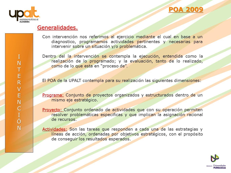 POA 2009 Generalidades. I N T E R V C Ó