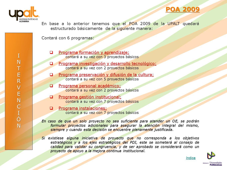 POA 2009 En base a lo anterior tenemos que el POA 2009 de la UPALT quedará estructurado básicamente de la siguiente manera: