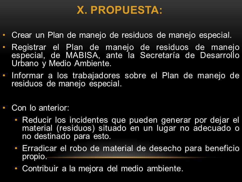 x. propuesta: Crear un Plan de manejo de residuos de manejo especial.