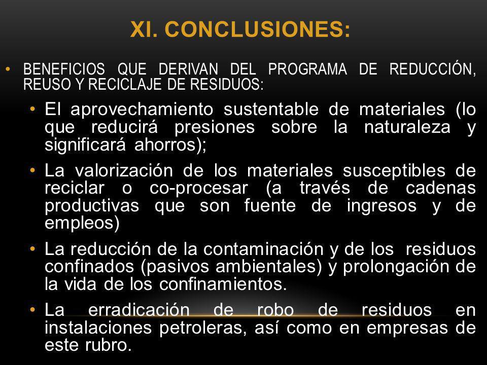 xi. conclusiones: BENEFICIOS QUE DERIVAN DEL PROGRAMA DE REDUCCIÓN, REUSO Y RECICLAJE DE RESIDUOS: