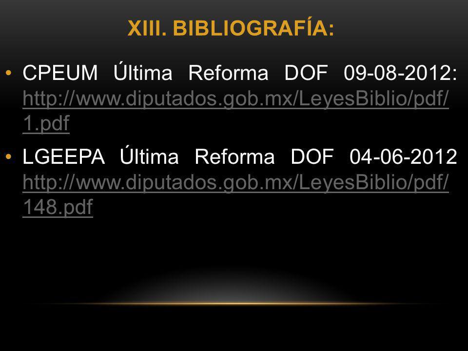 xiii. bibliografía: CPEUM Última Reforma DOF 09-08-2012: http://www.diputados.gob.mx/LeyesBiblio/pdf/ 1.pdf.