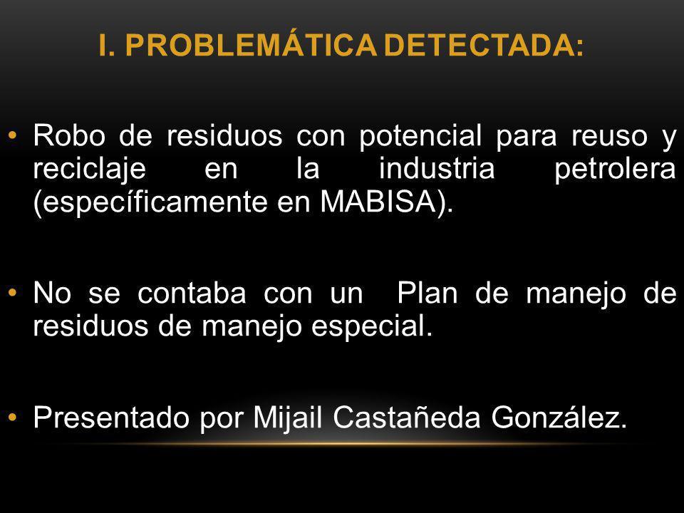 I. PROBLEMÁTICA DETECTADA: