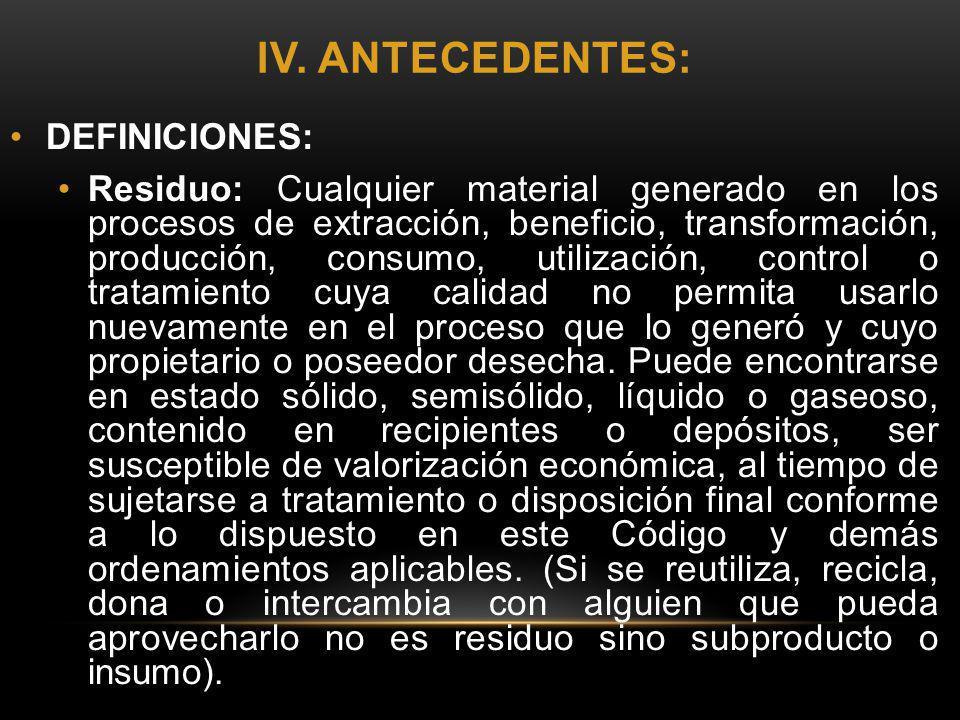 IV. ANTECEDENTES: DEFINICIONES: