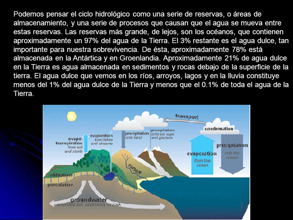 Podemos pensar el ciclo hidrológico como una serie de reservas, o áreas de almacenamiento, y una serie de procesos que causan que el agua se mueva entre estas reservas.