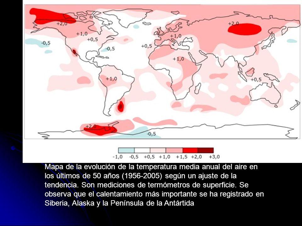 Mapa de la evolución de la temperatura media anual del aire en los últimos de 50 años (1956-2005) según un ajuste de la tendencia.
