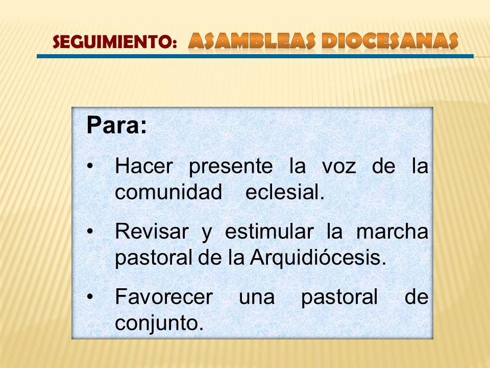 SEGUIMIENTO: Asambleas Diocesanas
