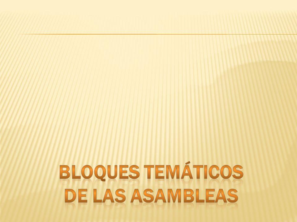 BLOQUES TEMÁTICOS DE LAS ASAMBLEAS