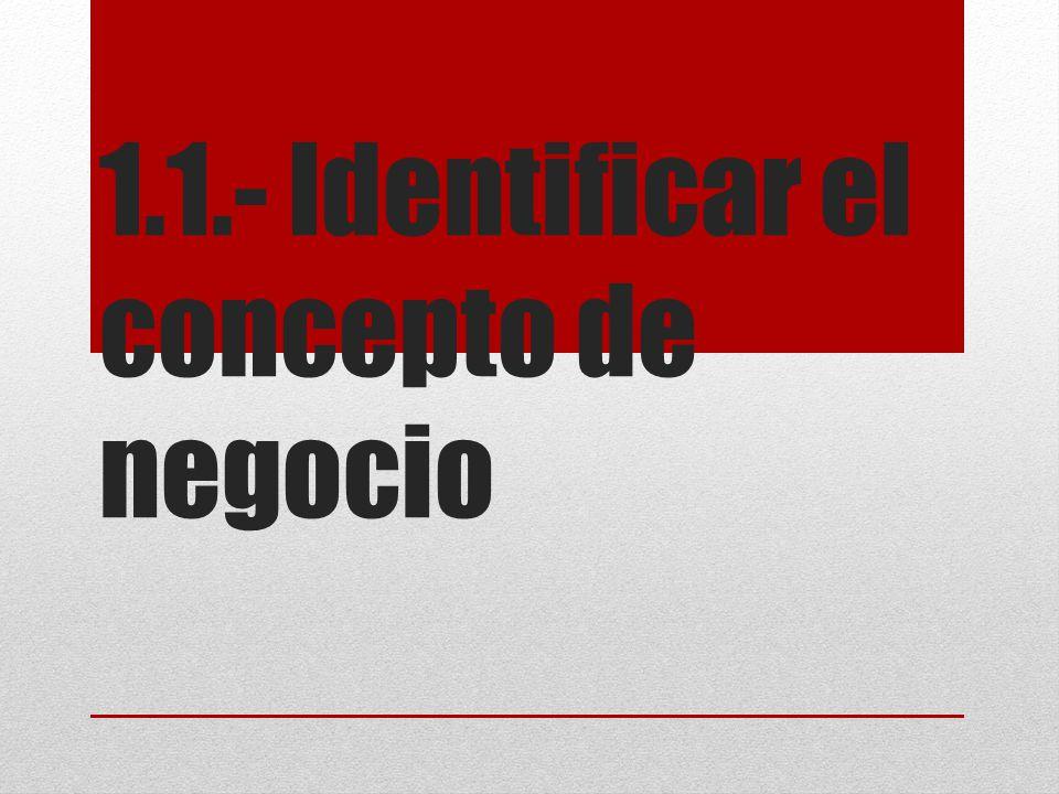 1.1.- Identificar el concepto de negocio