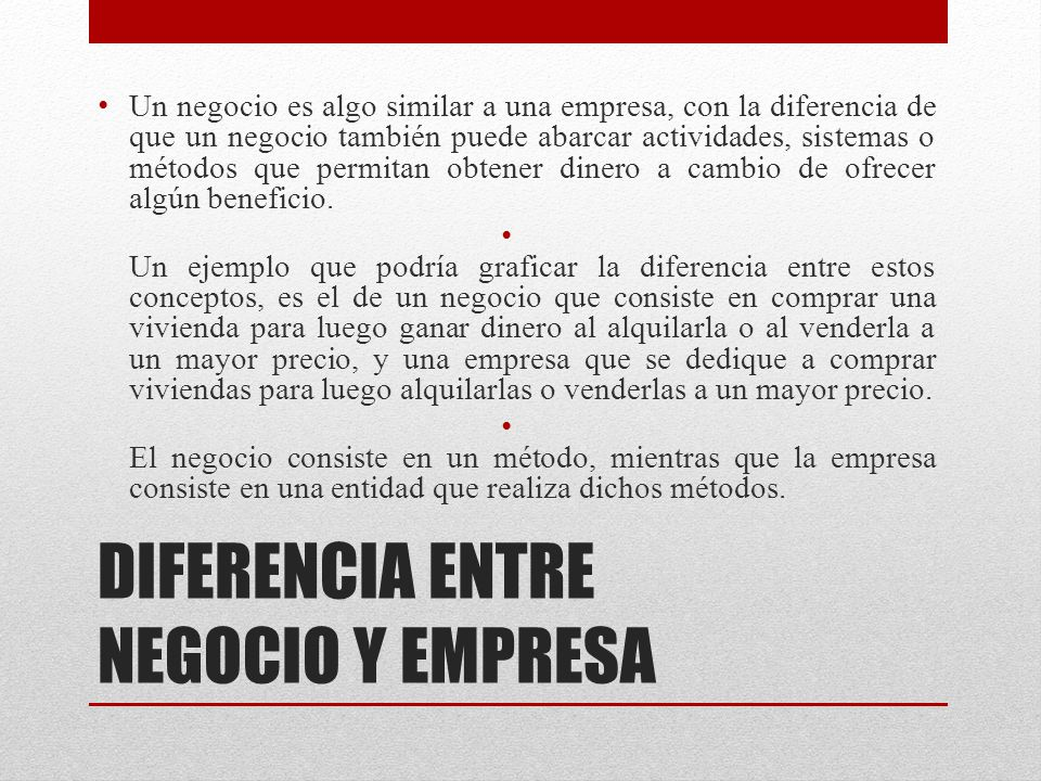 DIFERENCIA ENTRE NEGOCIO Y EMPRESA