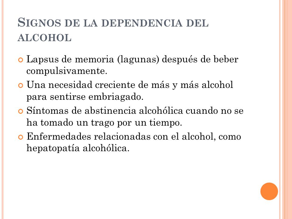 Signos de la dependencia del alcohol