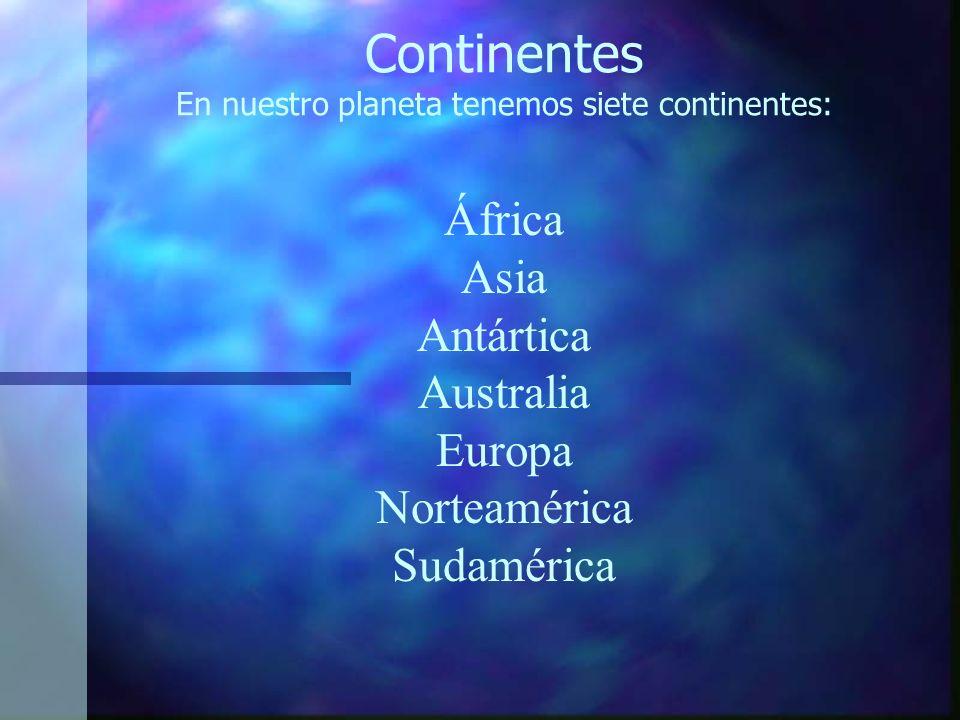 Continentes En nuestro planeta tenemos siete continentes: