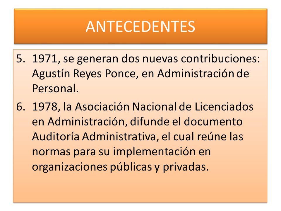 ANTECEDENTES 1971, se generan dos nuevas contribuciones: Agustín Reyes Ponce, en Administración de Personal.