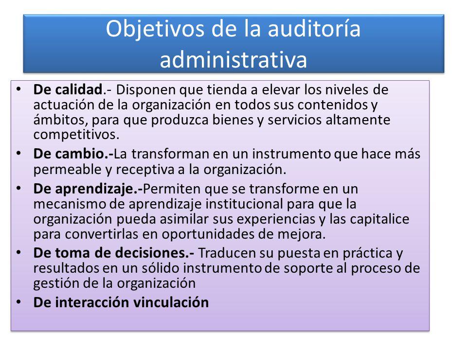 Objetivos de la auditoría administrativa