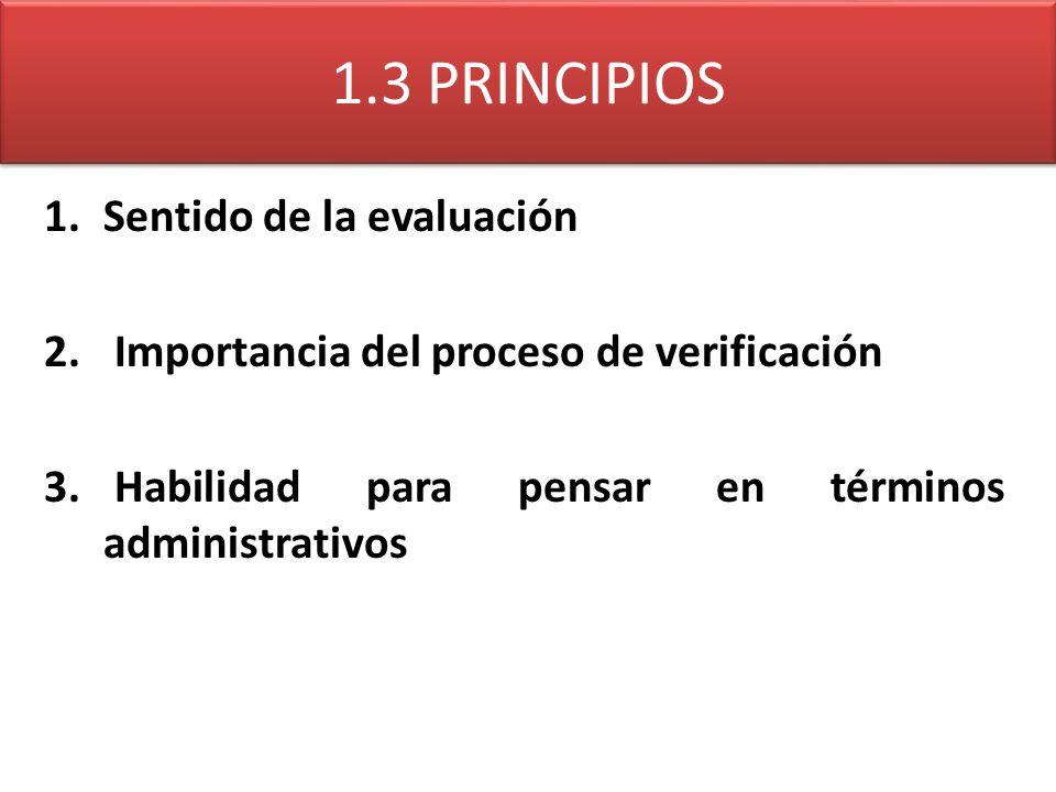 1.3 PRINCIPIOS Sentido de la evaluación