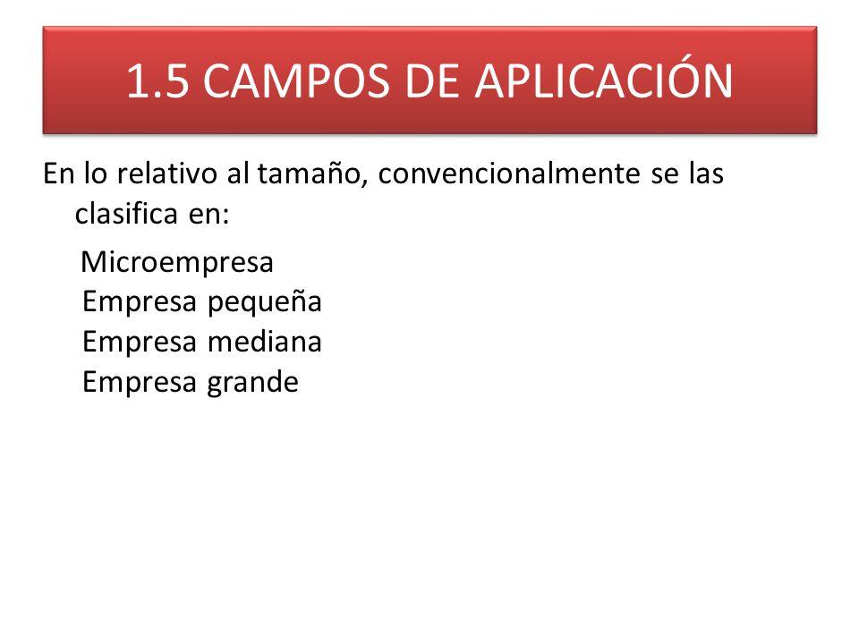 1.5 CAMPOS DE APLICACIÓN En lo relativo al tamaño, convencionalmente se las clasifica en: