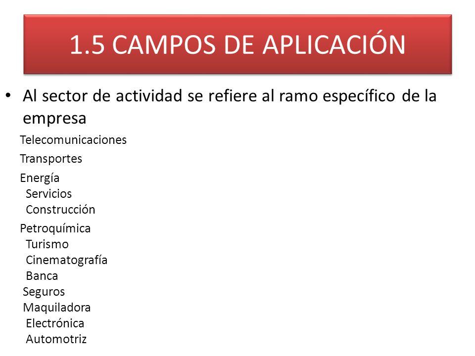 1.5 CAMPOS DE APLICACIÓN Al sector de actividad se refiere al ramo específico de la empresa. Telecomunicaciones.