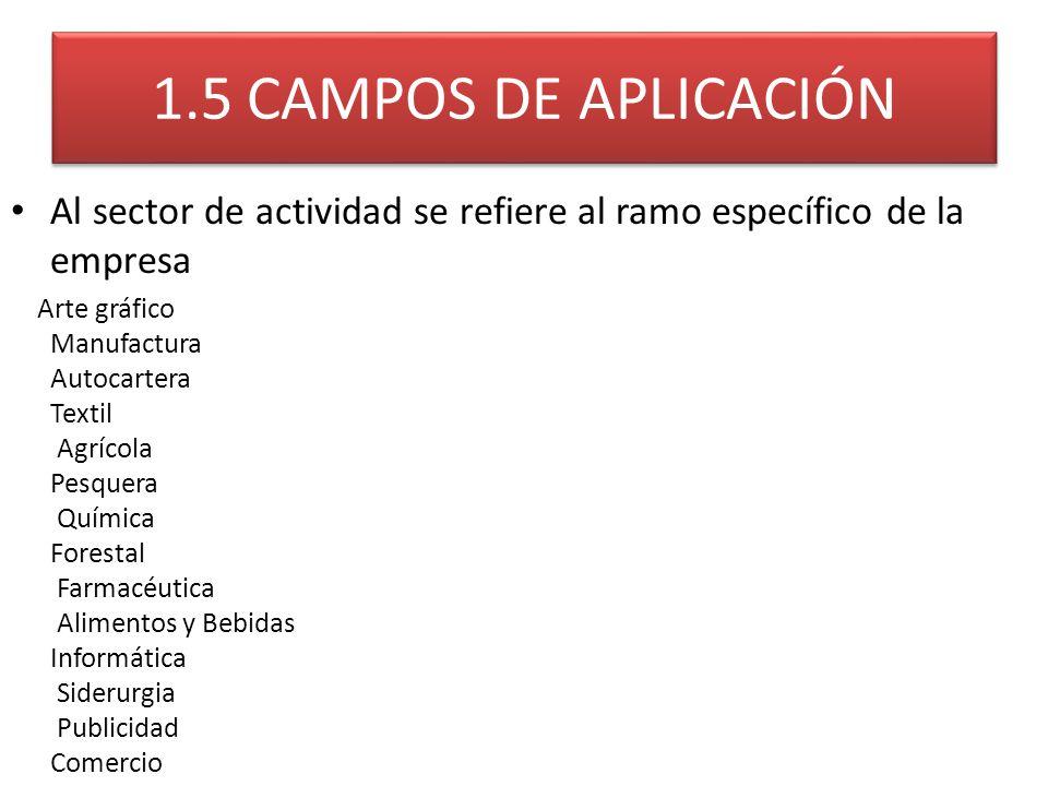 1.5 CAMPOS DE APLICACIÓN Al sector de actividad se refiere al ramo específico de la empresa.
