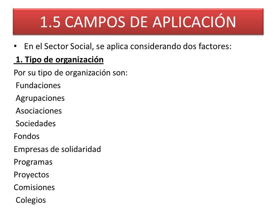 1.5 CAMPOS DE APLICACIÓN En el Sector Social, se aplica considerando dos factores: 1. Tipo de organización.