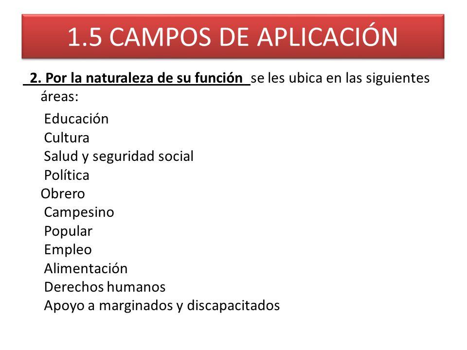 1.5 CAMPOS DE APLICACIÓN 2. Por la naturaleza de su función se les ubica en las siguientes áreas: