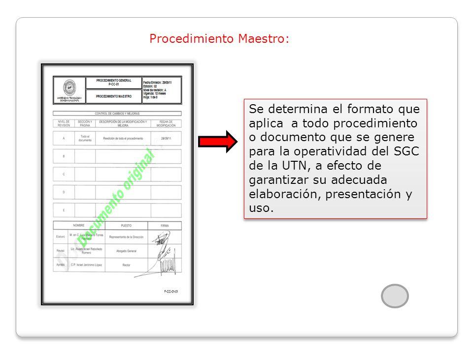 Procedimiento Maestro: