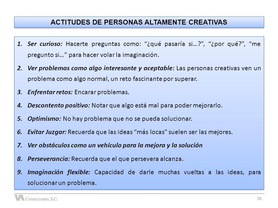 ACTITUDES DE PERSONAS ALTAMENTE CREATIVAS