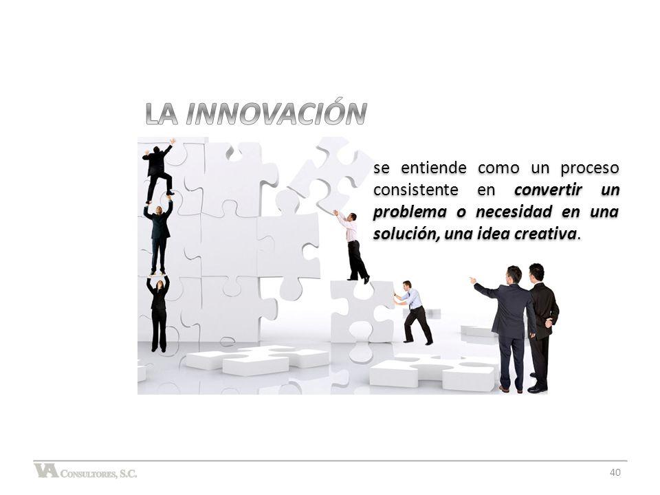 LA INNOVACIÓN se entiende como un proceso consistente en convertir un problema o necesidad en una solución, una idea creativa.