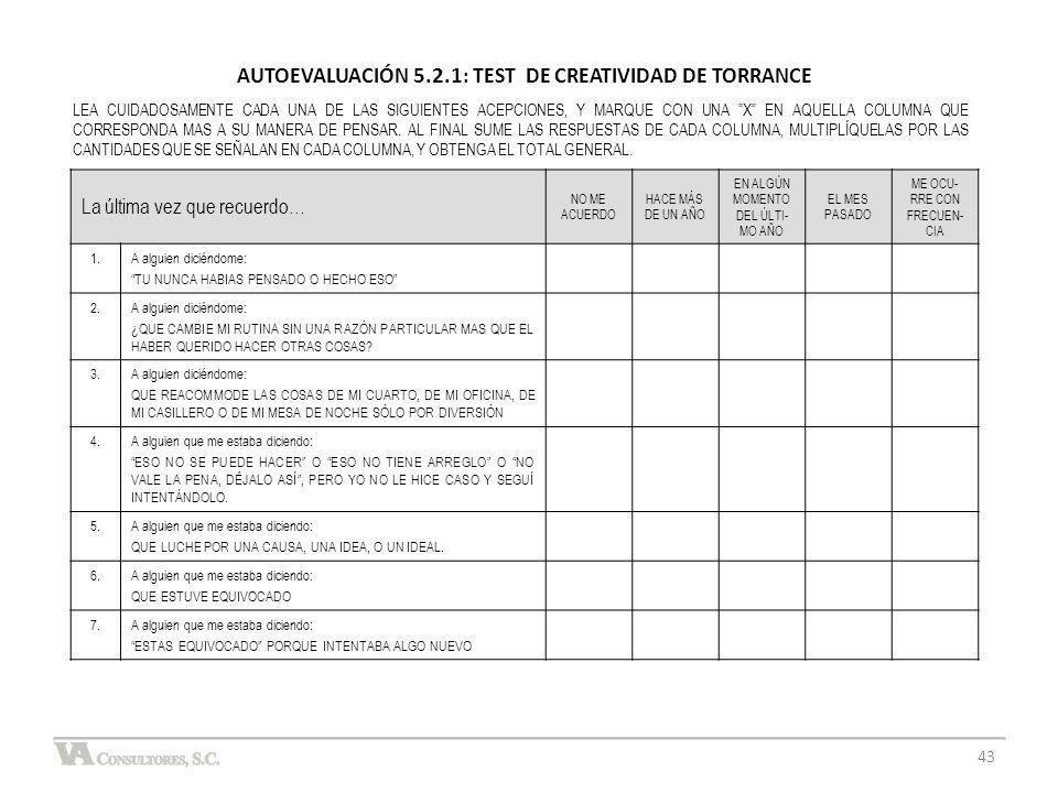 AUTOEVALUACIÓN 5.2.1: TEST DE CREATIVIDAD DE TORRANCE