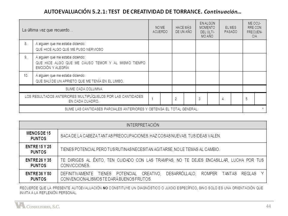 AUTOEVALUACIÓN 5.2.1: TEST DE CREATIVIDAD DE TORRANCE. Continuación…
