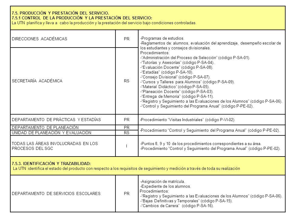 7.5. PRODUCCIÓN Y PRESTACIÓN DEL SERVICIO.