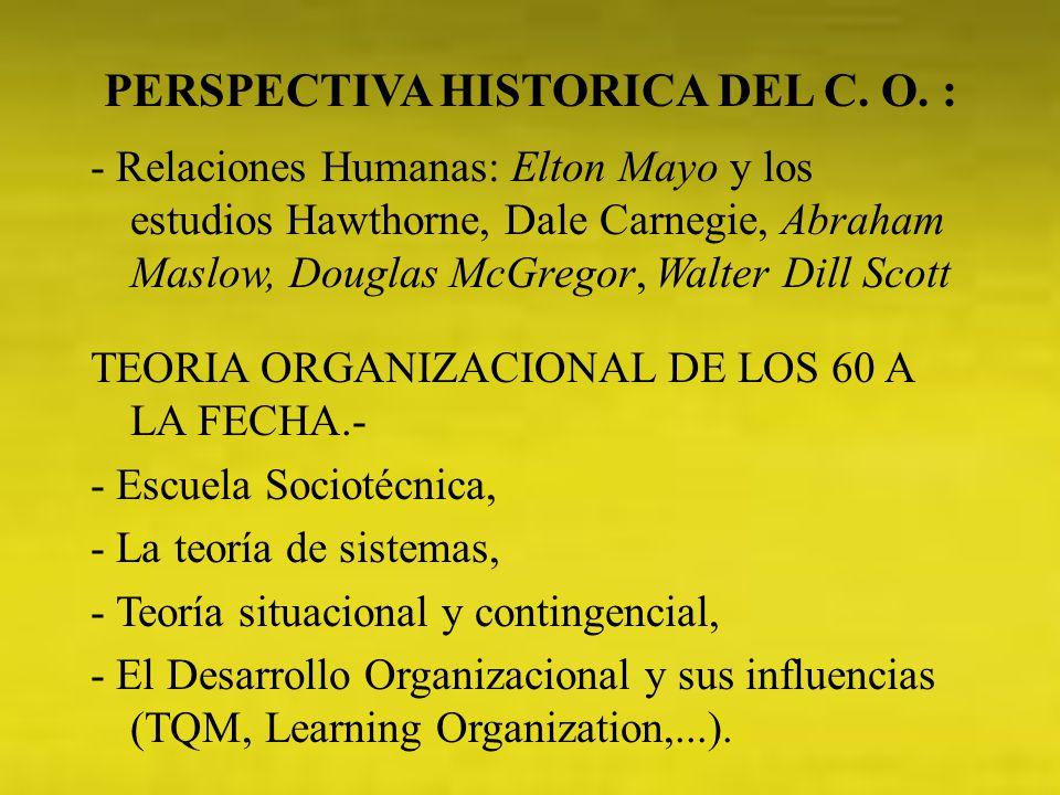 PERSPECTIVA HISTORICA DEL C. O. :