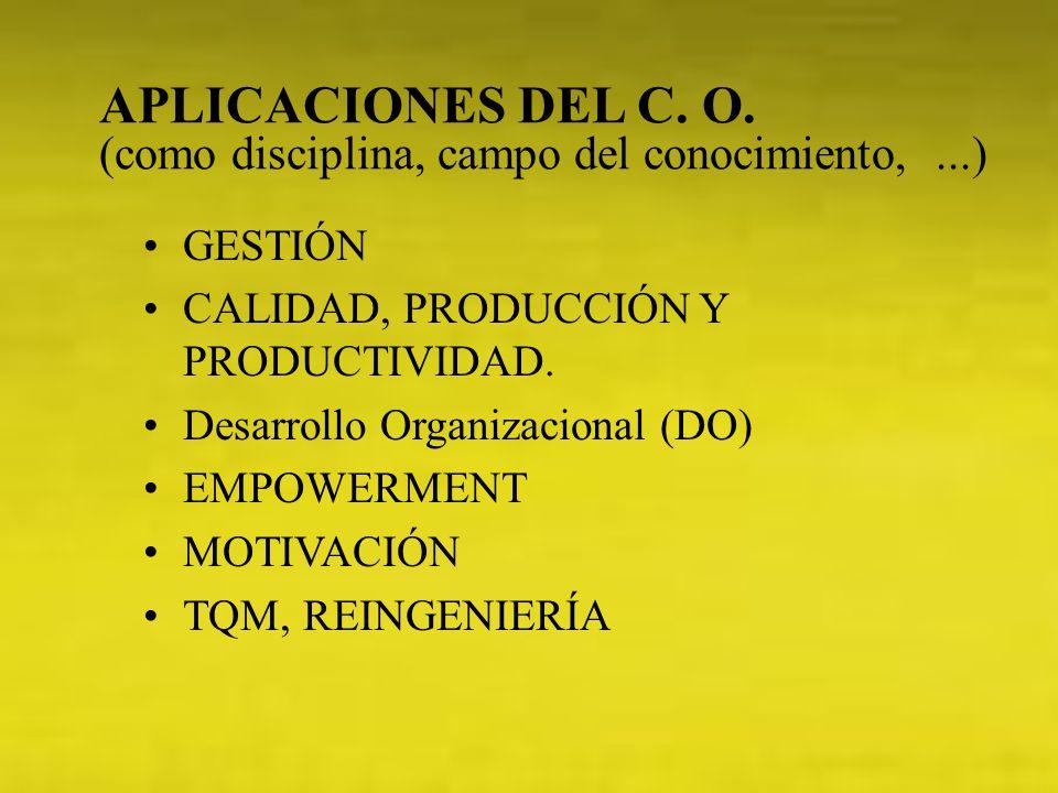 APLICACIONES DEL C. O. (como disciplina, campo del conocimiento, ...)