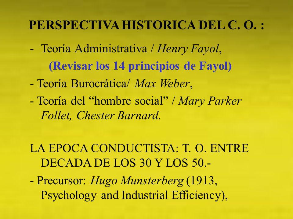 PERSPECTIVA HISTORICA DEL C. O. : (Revisar los 14 principios de Fayol)