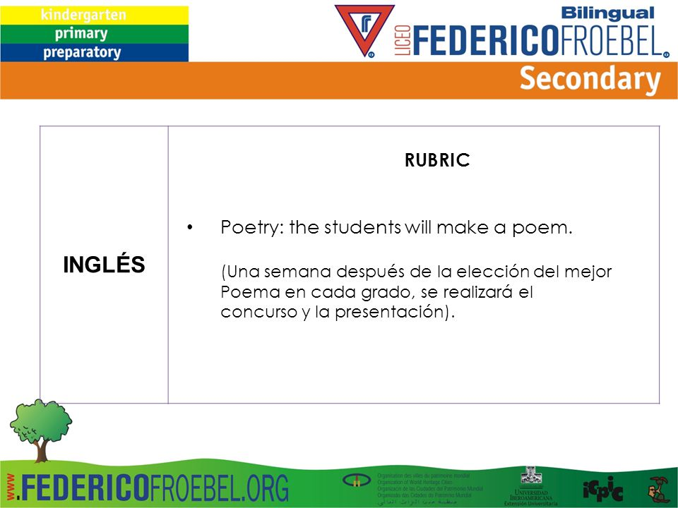 INGLÉS RUBRIC Poetry: the students will make a poem.