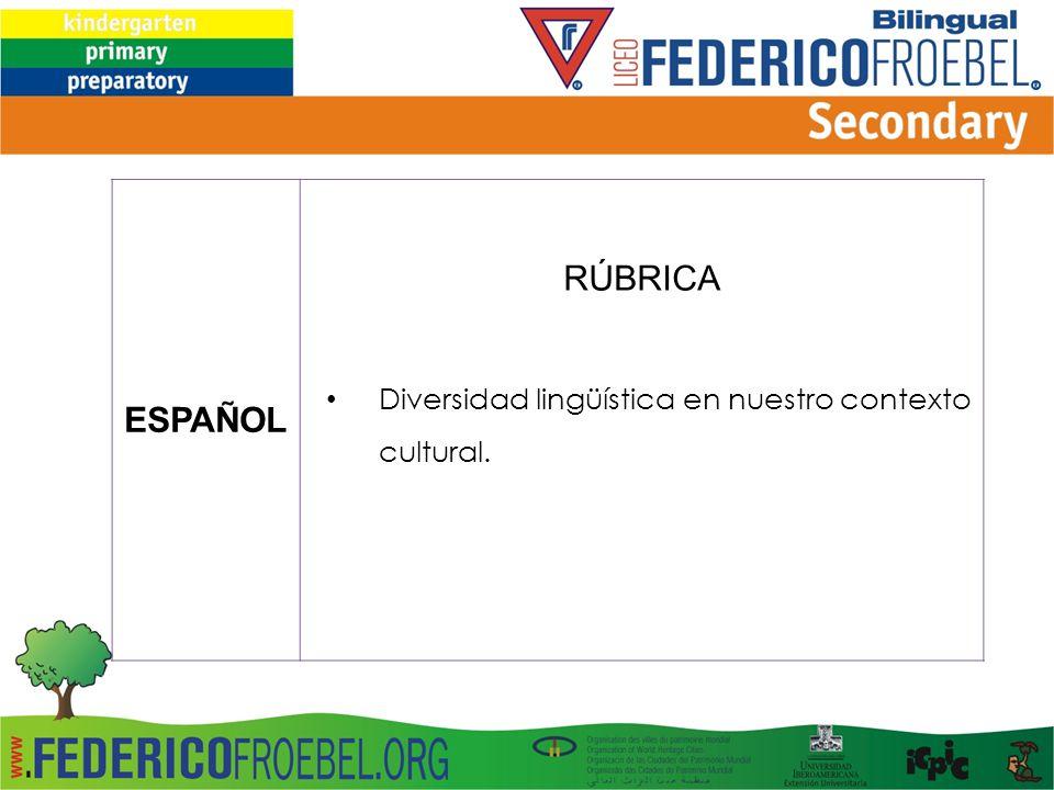 ESPAÑOL RÚBRICA Diversidad lingüística en nuestro contexto cultural.