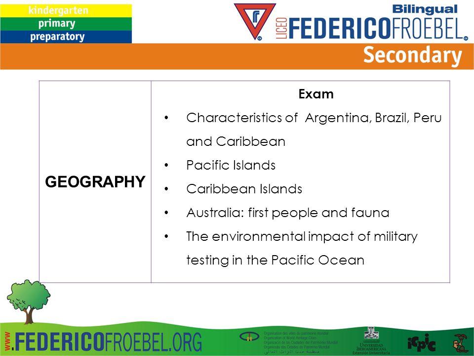 GEOGRAPHY Exam Characteristics of Argentina, Brazil, Peru