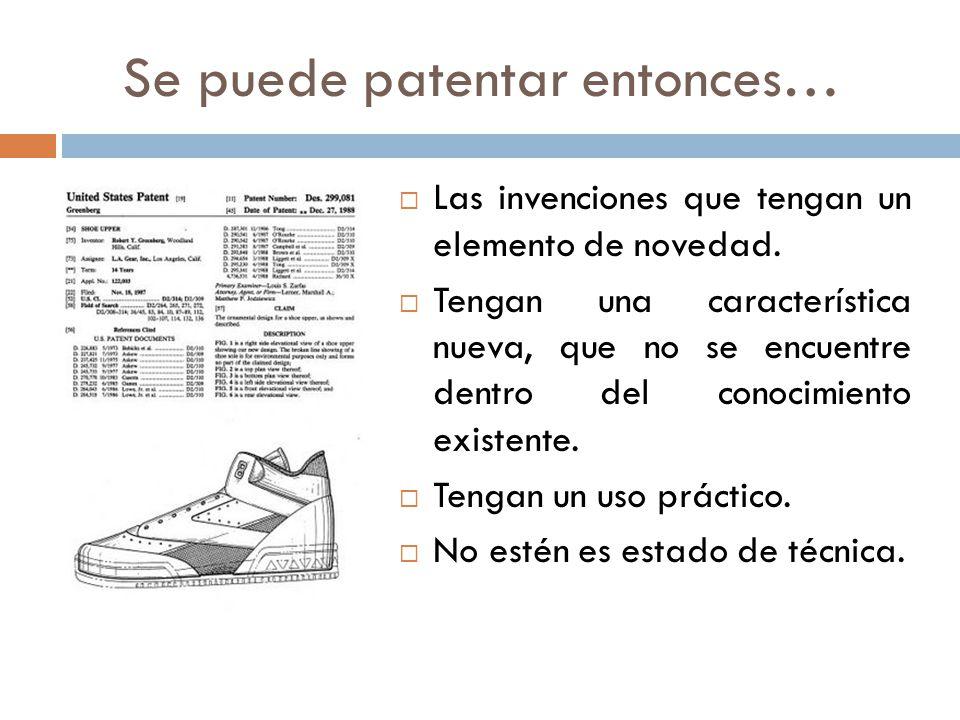 Se puede patentar entonces…