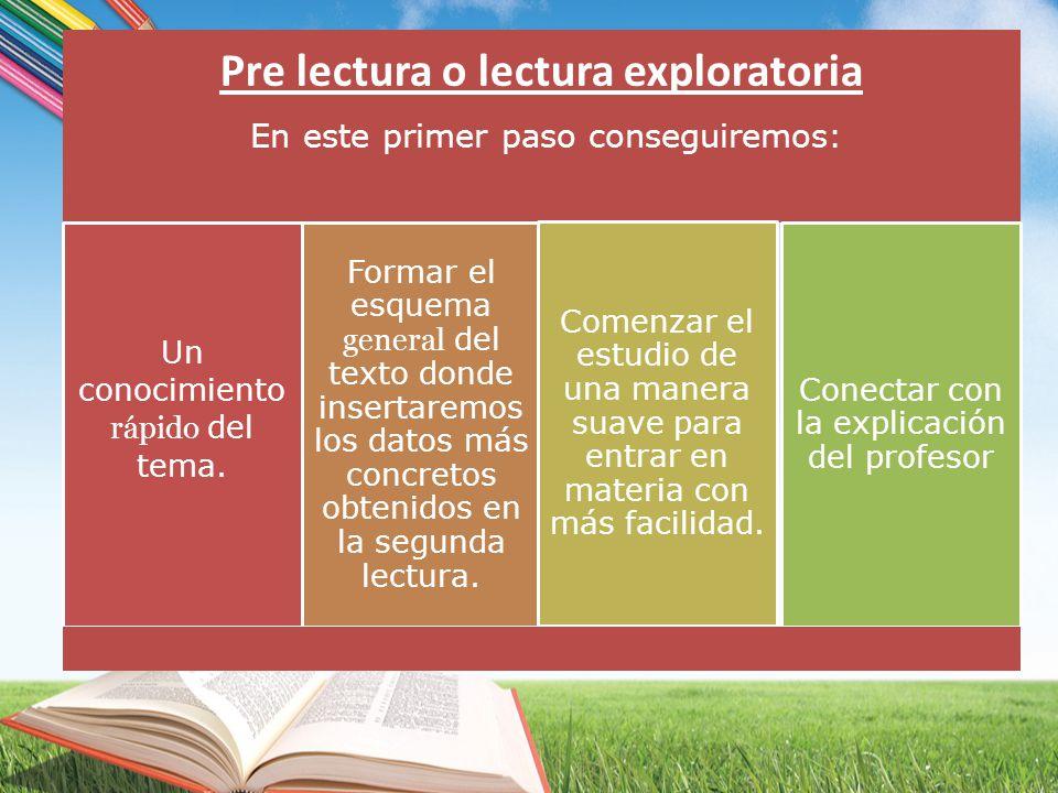 Pre lectura o lectura exploratoria