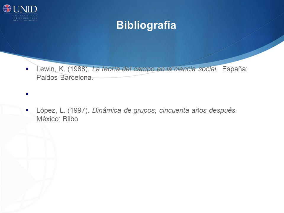 Bibliografía Lewin, K. (1988). La teoría del campo en la ciencia social. España: Paidos Barcelona.
