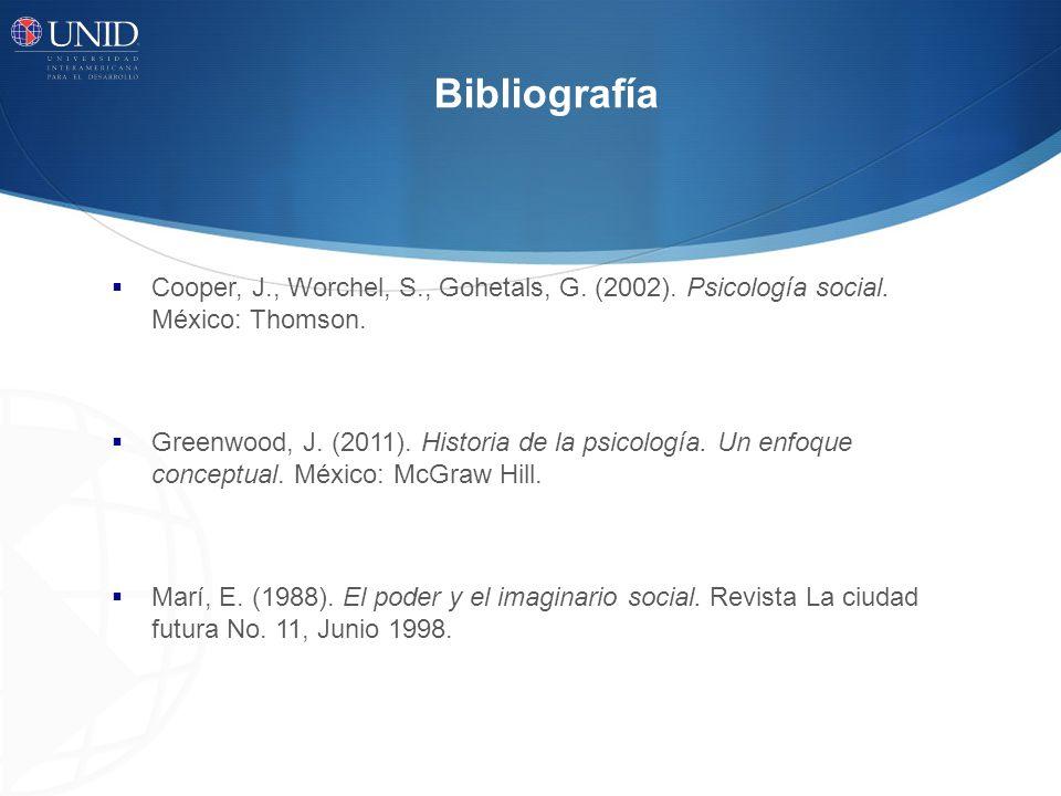 Bibliografía Cooper, J., Worchel, S., Gohetals, G. (2002). Psicología social. México: Thomson.