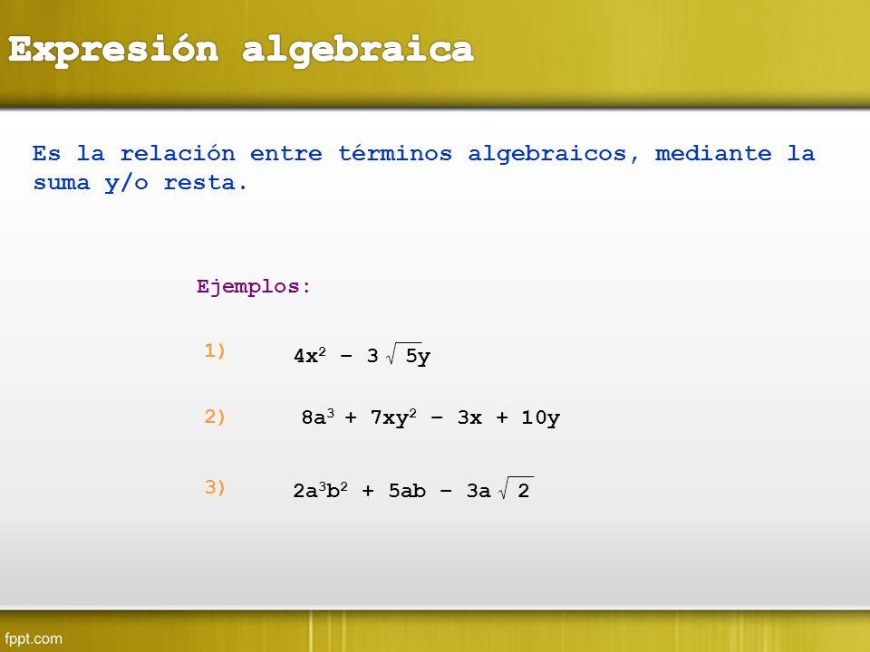 Expresión algebraica Es la relación entre términos algebraicos, mediante la suma y/o resta. Ejemplos: