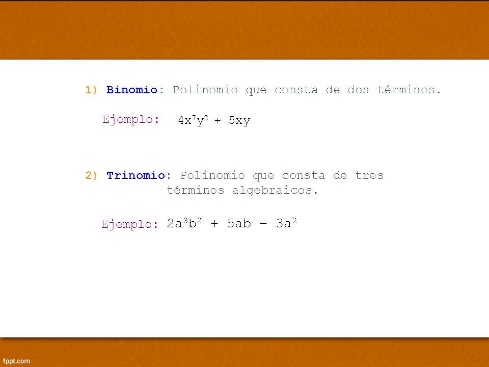 2a3b2 + 5ab – 3a2 1) Binomio: Polinomio que consta de dos términos.