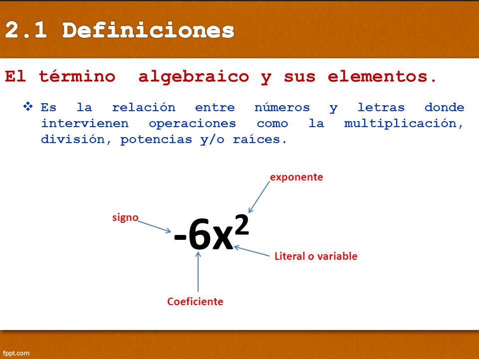 -6x2 2.1 Definiciones El término algebraico y sus elementos.