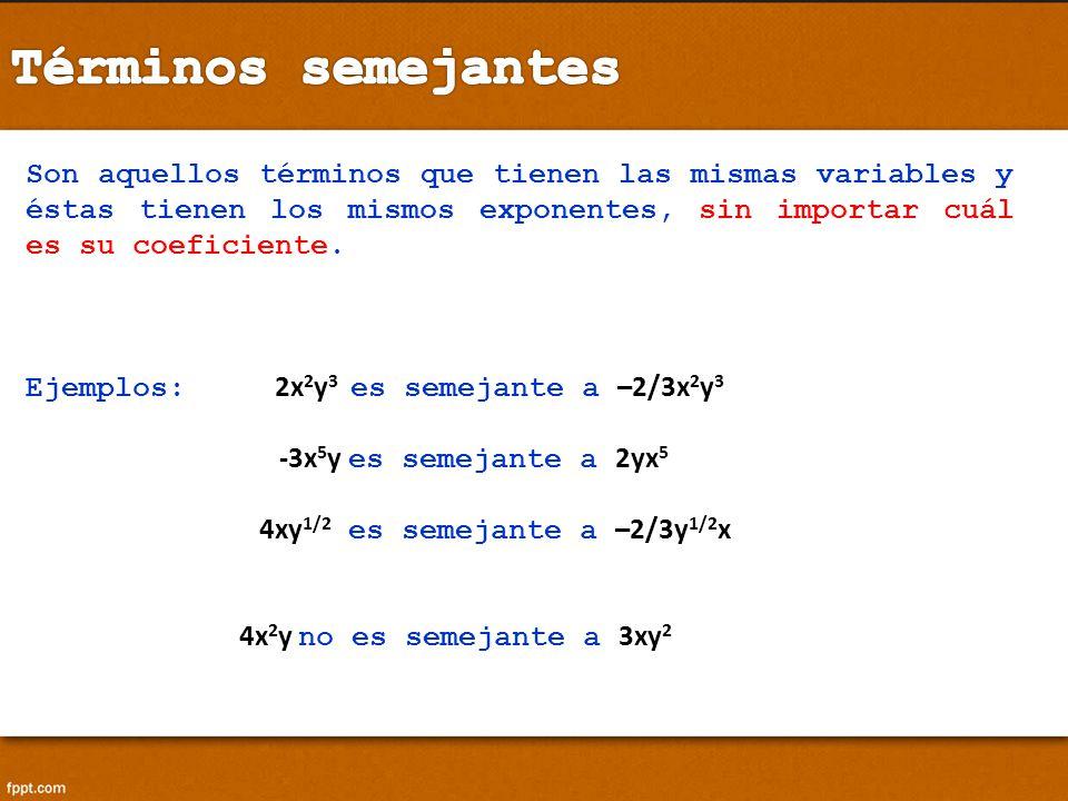 Términos semejantes Son aquellos términos que tienen las mismas variables y éstas tienen los mismos exponentes, sin importar cuál es su coeficiente.
