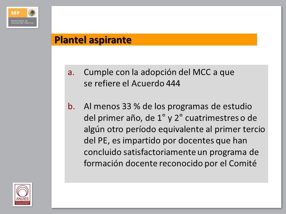 Plantel aspirante Cumple con la adopción del MCC a que
