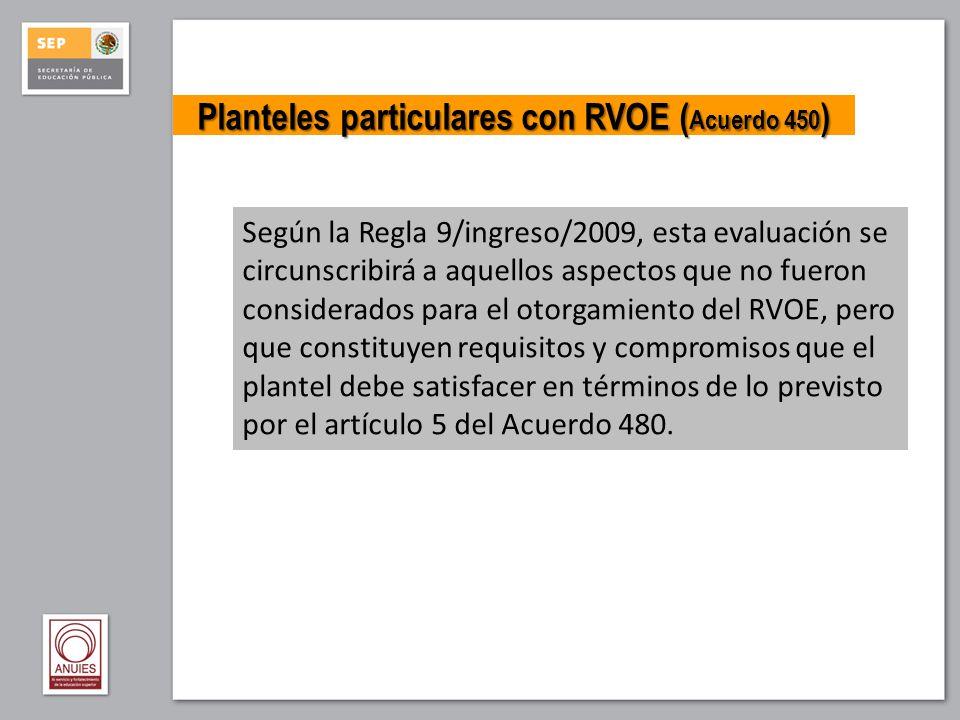 Planteles particulares con RVOE (Acuerdo 450)