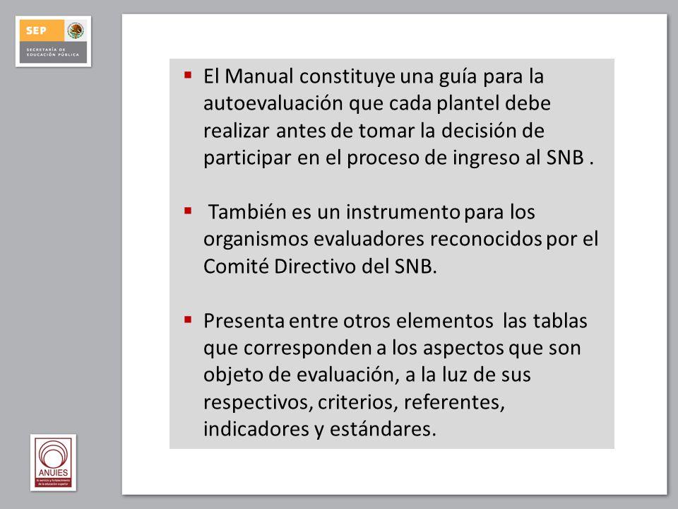 El Manual constituye una guía para la autoevaluación que cada plantel debe realizar antes de tomar la decisión de participar en el proceso de ingreso al SNB .